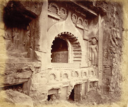 View from the left of facade of Buddhist chaitya hall, Cave IX, Ajanta